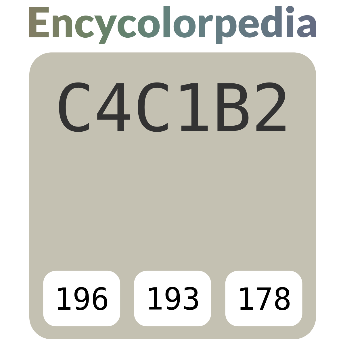 Color Tortora Ral 7044 pantone / pms p 178-1 c / #c4c1b2 hex color code, rgb and paints